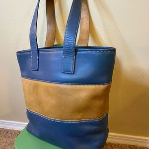 Coach Hampton tote bag blue/tan leather #9348